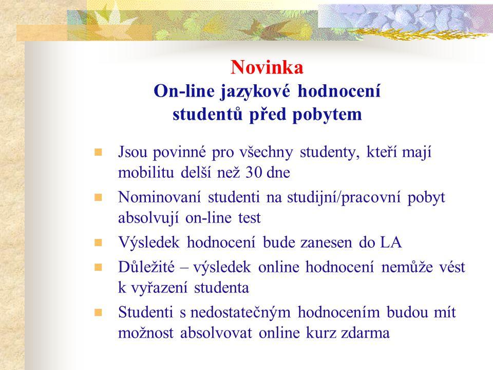 Novinka On-line jazykové hodnocení studentů před pobytem Jsou povinné pro všechny studenty, kteří mají mobilitu delší než 30 dne Nominovaní studenti na studijní/pracovní pobyt absolvují on-line test Výsledek hodnocení bude zanesen do LA Důležité – výsledek online hodnocení nemůže vést k vyřazení studenta Studenti s nedostatečným hodnocením budou mít možnost absolvovat online kurz zdarma