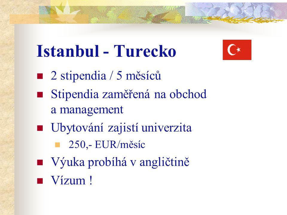 Istanbul - Turecko 2 stipendia / 5 měsíců Stipendia zaměřená na obchod a management Ubytování zajistí univerzita 250,- EUR/měsíc Výuka probíhá v angličtině Vízum !