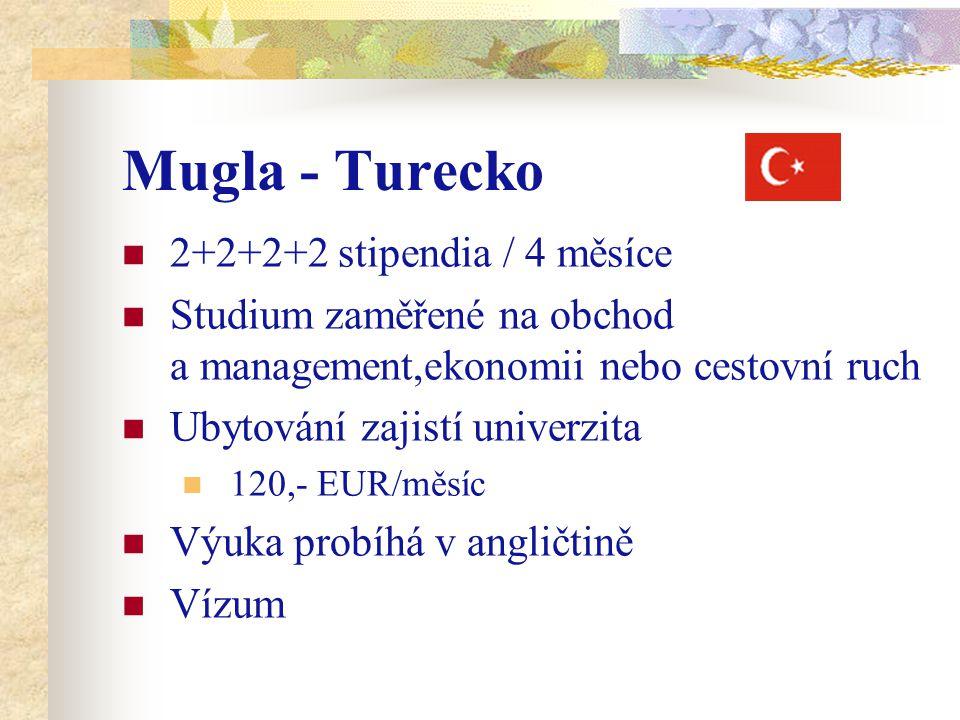 Mugla - Turecko 2+2+2+2 stipendia / 4 měsíce Studium zaměřené na obchod a management,ekonomii nebo cestovní ruch Ubytování zajistí univerzita 120,- EUR/měsíc Výuka probíhá v angličtině Vízum