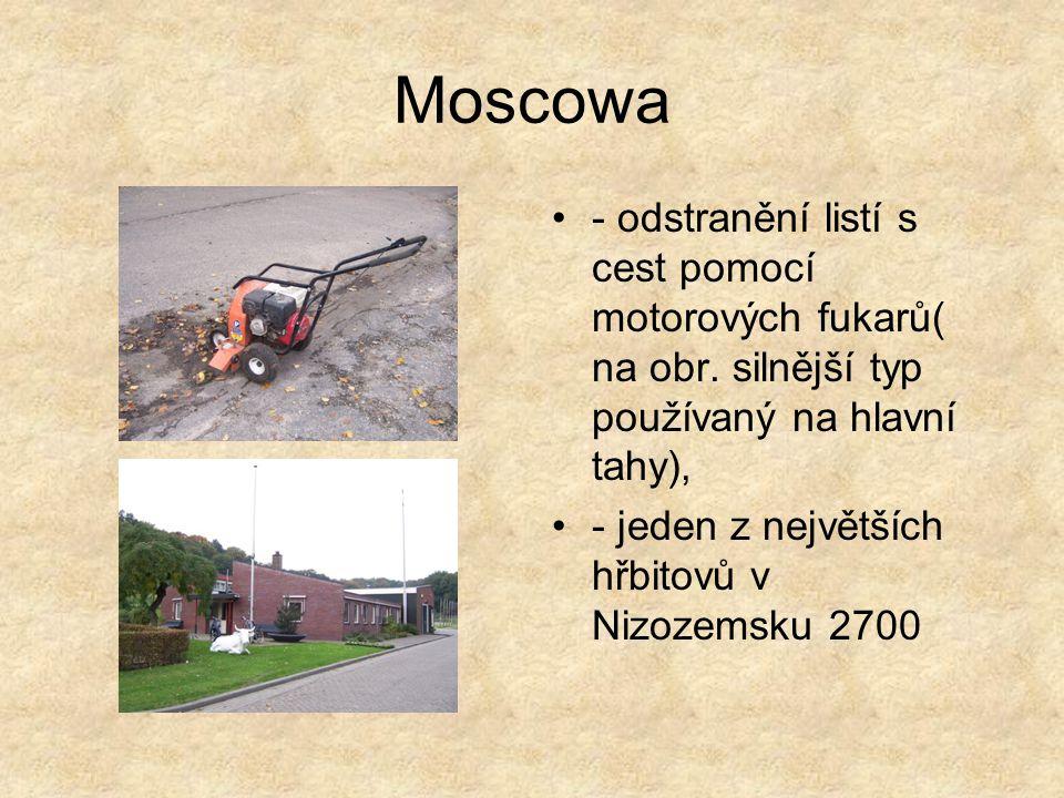 Moscowa - odstranění listí s cest pomocí motorových fukarů( na obr.
