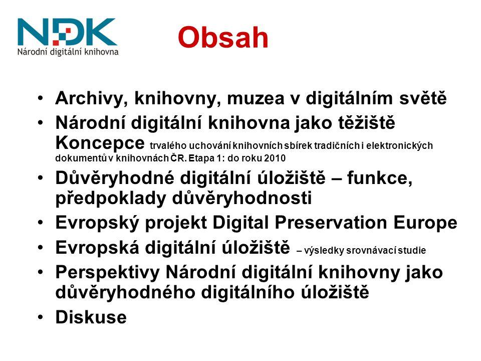 Obsah Archivy, knihovny, muzea v digitálním světě Národní digitální knihovna jako těžiště Koncepce trvalého uchování knihovních sbírek tradičních i elektronických dokumentů v knihovnách ČR.