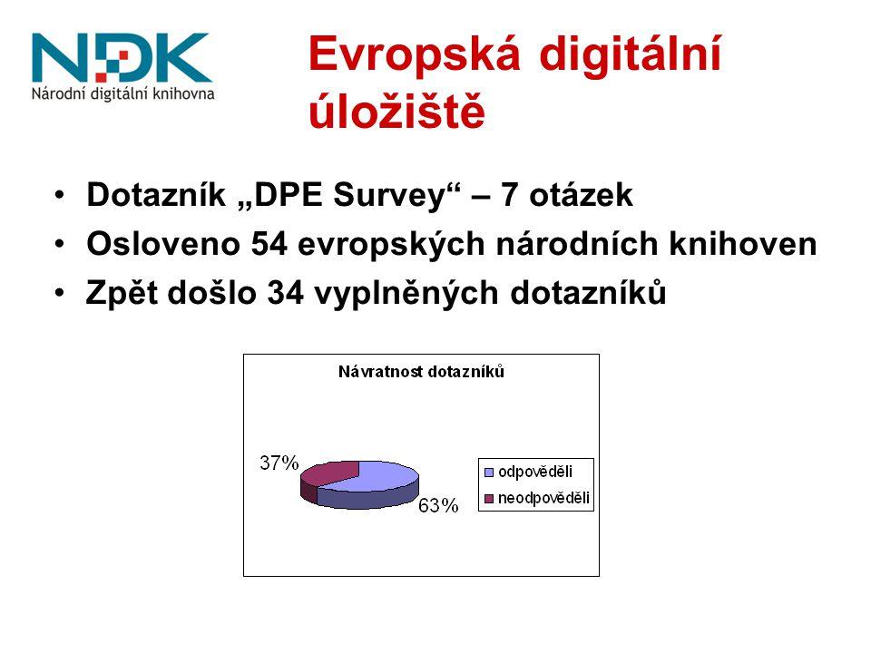 """Evropská digitální úložiště Dotazník """"DPE Survey"""" – 7 otázek Osloveno 54 evropských národních knihoven Zpět došlo 34 vyplněných dotazníků"""