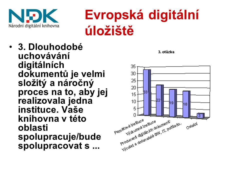 Evropská digitální úložiště 3. Dlouhodobé uchovávání digitálních dokumentů je velmi složitý a náročný proces na to, aby jej realizovala jedna instituc
