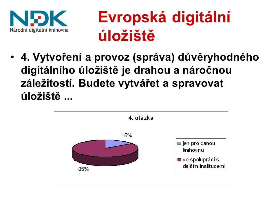 Evropská digitální úložiště 4. Vytvoření a provoz (správa) důvěryhodného digitálního úložiště je drahou a náročnou záležitostí. Budete vytvářet a spra