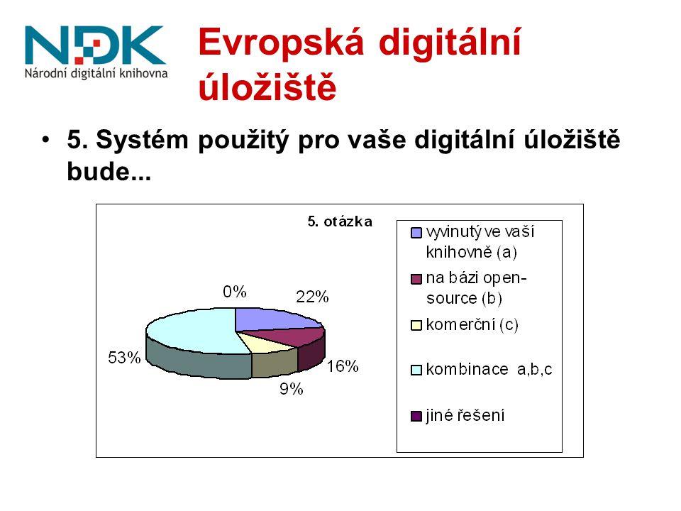Evropská digitální úložiště 5. Systém použitý pro vaše digitální úložiště bude...