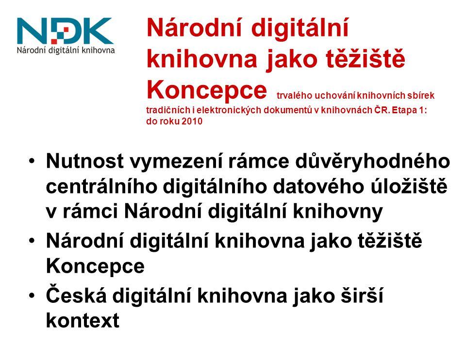 Národní digitální knihovna jako těžiště Koncepce trvalého uchování knihovních sbírek tradičních i elektronických dokumentů v knihovnách ČR.