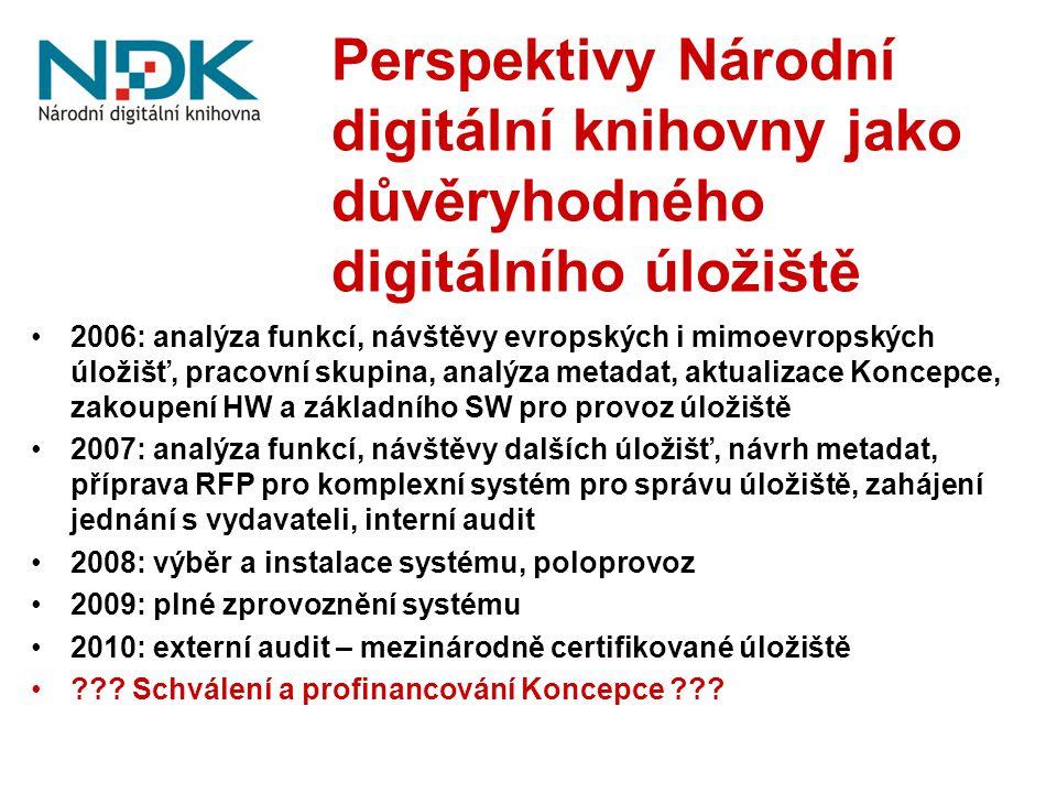 Perspektivy Národní digitální knihovny jako důvěryhodného digitálního úložiště 2006: analýza funkcí, návštěvy evropských i mimoevropských úložišť, pracovní skupina, analýza metadat, aktualizace Koncepce, zakoupení HW a základního SW pro provoz úložiště 2007: analýza funkcí, návštěvy dalších úložišť, návrh metadat, příprava RFP pro komplexní systém pro správu úložiště, zahájení jednání s vydavateli, interní audit 2008: výběr a instalace systému, poloprovoz 2009: plné zprovoznění systému 2010: externí audit – mezinárodně certifikované úložiště .