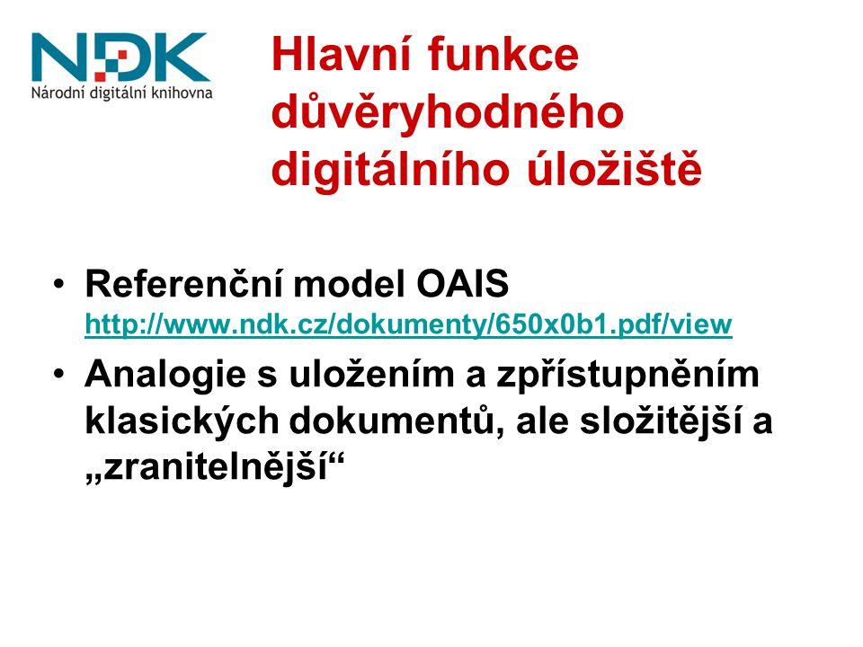 """Hlavní funkce důvěryhodného digitálního úložiště Referenční model OAIS http://www.ndk.cz/dokumenty/650x0b1.pdf/view http://www.ndk.cz/dokumenty/650x0b1.pdf/view Analogie s uložením a zpřístupněním klasických dokumentů, ale složitější a """"zranitelnější"""
