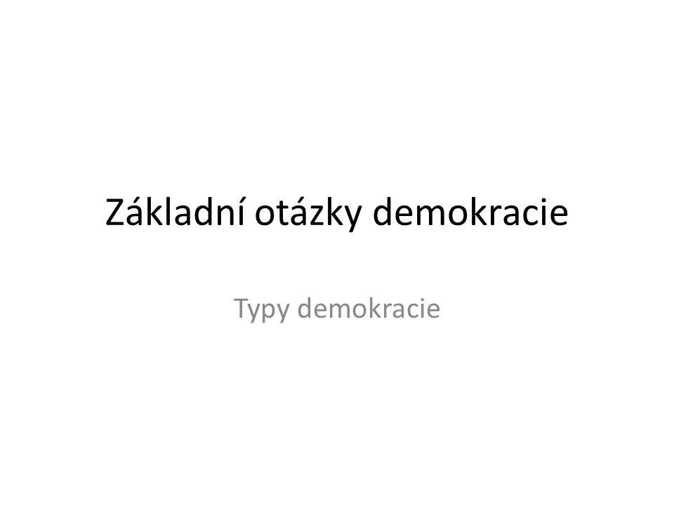 Dle výkonu vlády lidu * přímá *reprezentativní Dle oblasti * politická demokracie * sociální demkracie * ekonomická demokracie