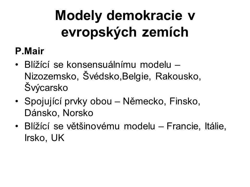 Modely demokracie v evropských zemích P.Mair Blížící se konsensuálnímu modelu – Nizozemsko, Švédsko,Belgie, Rakousko, Švýcarsko Spojující prvky obou