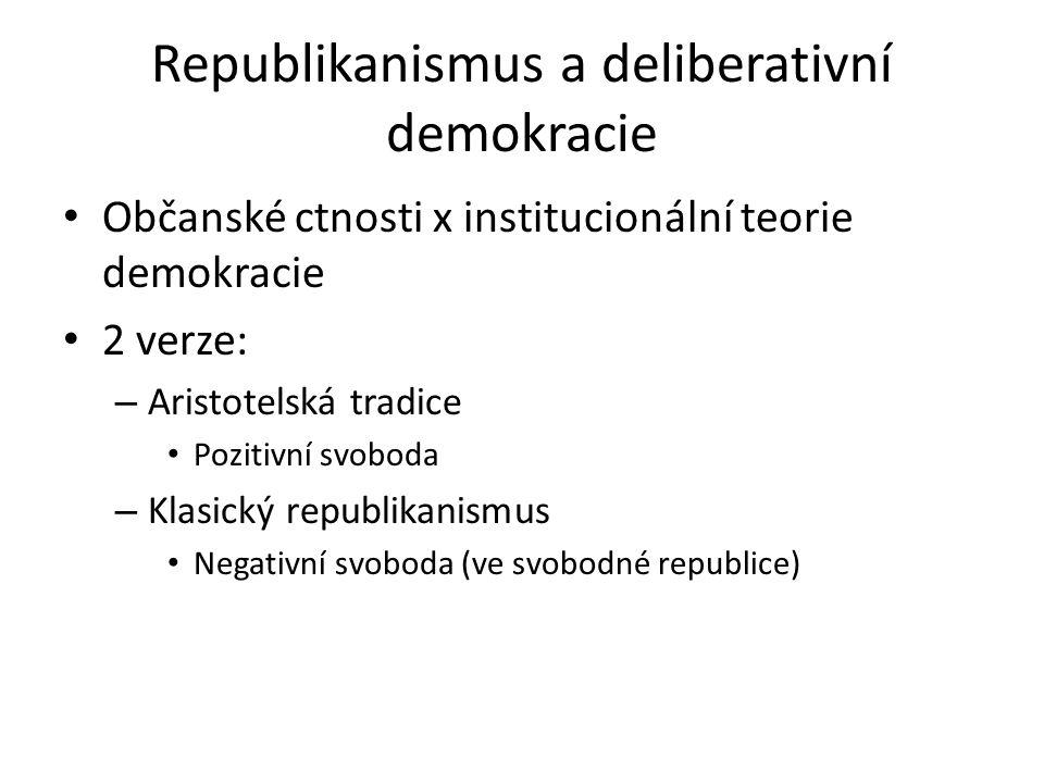 Radikálně demokratická teorie (Rousseau) Lidská pluralita (Arendtová) Přednost práva před dobrem.