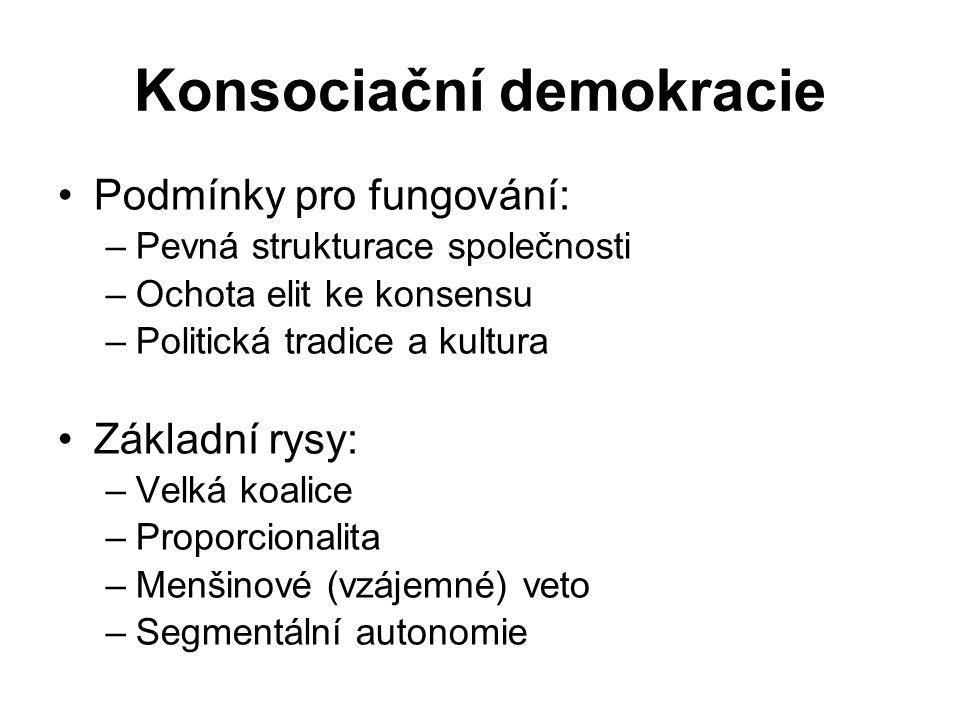 Modely demokracie – další vývoj Reforma konsociační demokracie – univerzalizace konceptu konsensuální demokracie – převaha kooperace nad konkurencí Protiváhu tvoří tzv.