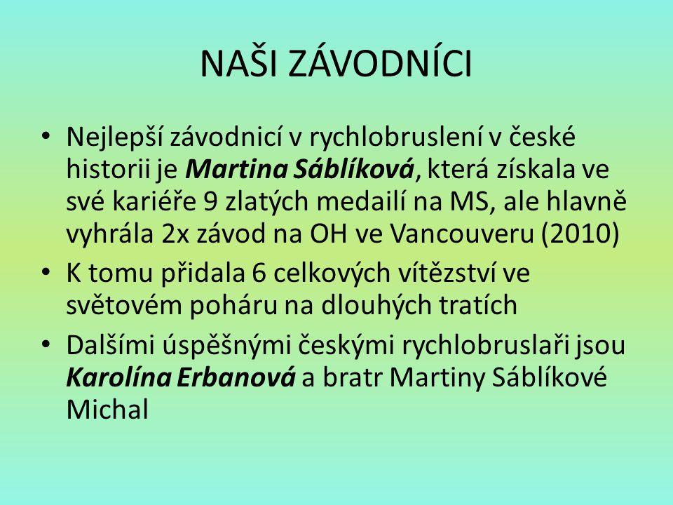 NAŠI ZÁVODNÍCI Nejlepší závodnicí v rychlobruslení v české historii je Martina Sáblíková, která získala ve své kariéře 9 zlatých medailí na MS, ale hl