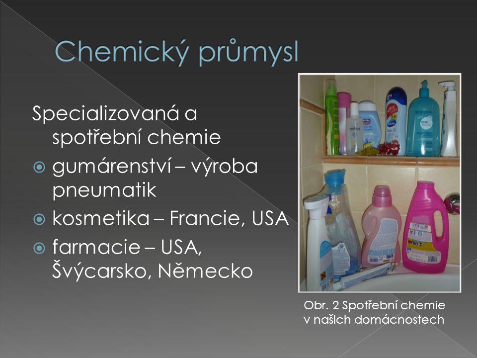 Specializovaná a spotřební chemie  gumárenství – výroba pneumatik  kosmetika – Francie, USA  farmacie – USA, Švýcarsko, Německo Obr.