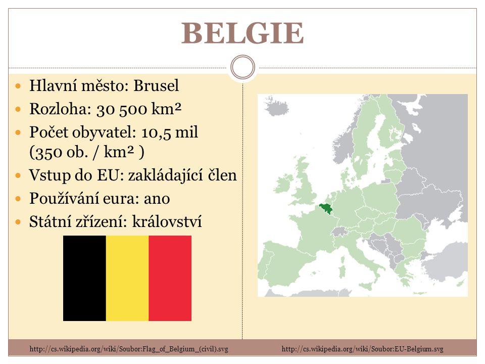 BELGIE Hlavní město: Brusel Rozloha: 30 500 km² Počet obyvatel: 10,5 mil (350 ob.