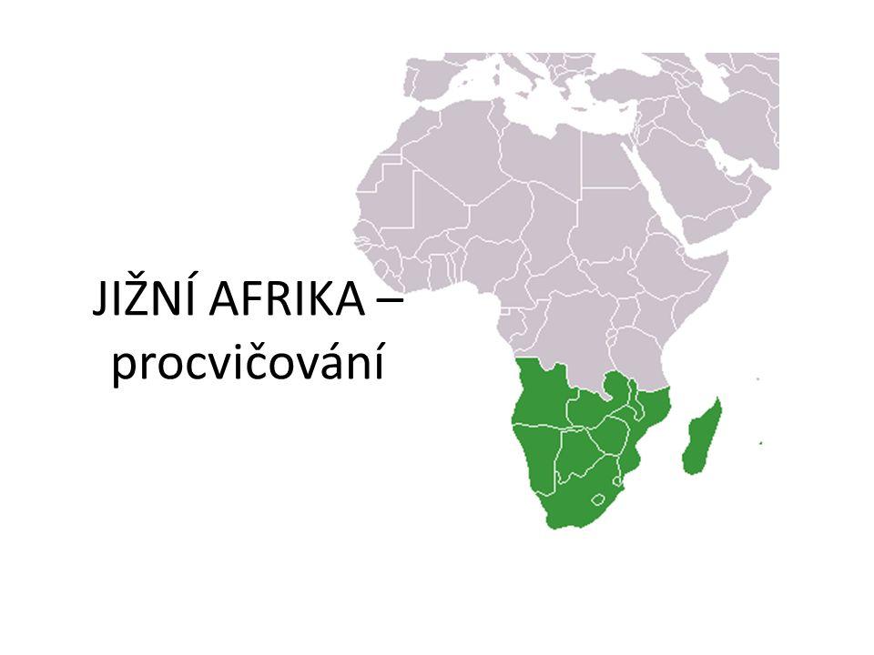 VYMEZENÍ Vyhledej a zakresli do mapy 1.Mezi kterými rovnoběžkami se rozkládá JIŽNÍ AFRIKA 2.Které státy leží při pobřeží a) Indického oceánu b) Atlantského oceánu 3.Uveď příklad vnitrozemského státu
