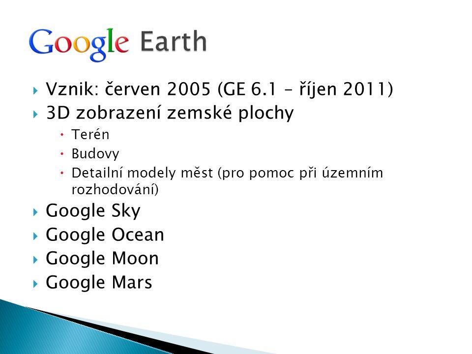  Vznik: červen 2005 (GE 6.1 – říjen 2011)  3D zobrazení zemské plochy  Terén  Budovy  Detailní modely měst (pro pomoc při územním rozhodování) 