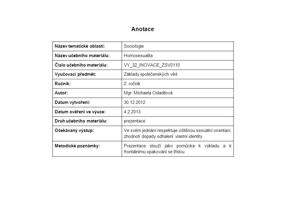 Anotace Název tematické oblasti: Sociologie Název učebního materiálu: Homosexualita Číslo učebního materiálu: VY_32_INOVACE_ZSV0110 Vyučovací předmět: