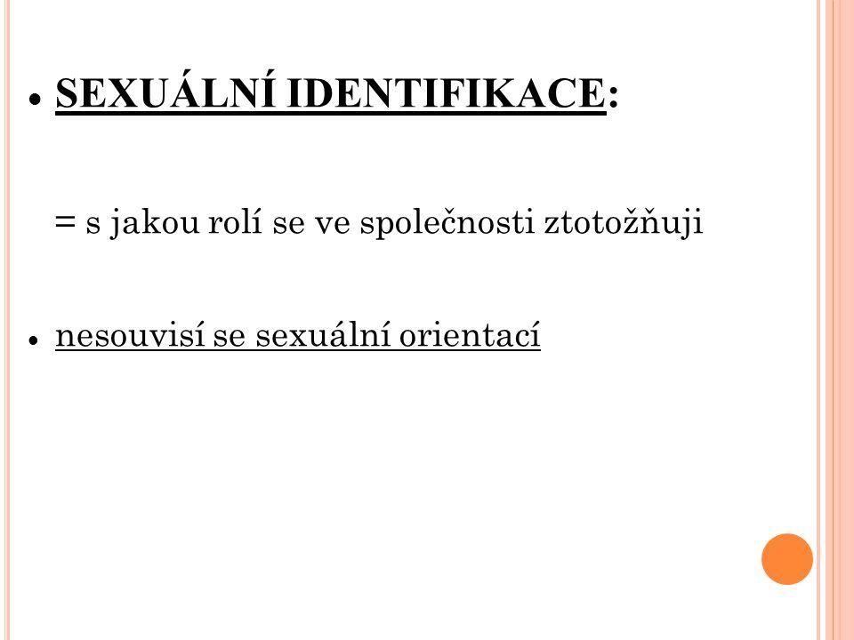 SEXUÁLNÍ IDENTIFIKACE: = s jakou rolí se ve společnosti ztotožňuji nesouvisí se sexuální orientací