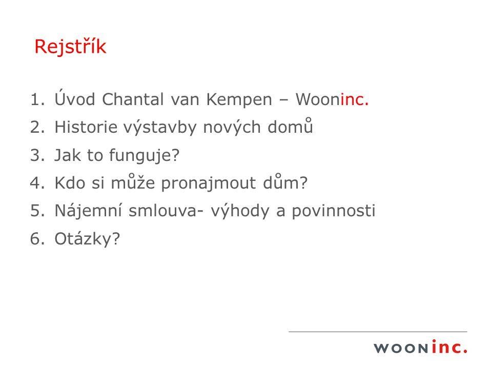 Rejstřík 1.Úvod Chantal van Kempen – Wooninc. 2.Historie výstavby nových domů 3.Jak to funguje? 4.Kdo si může pronajmout dům? 5.Nájemní smlouva- výhod
