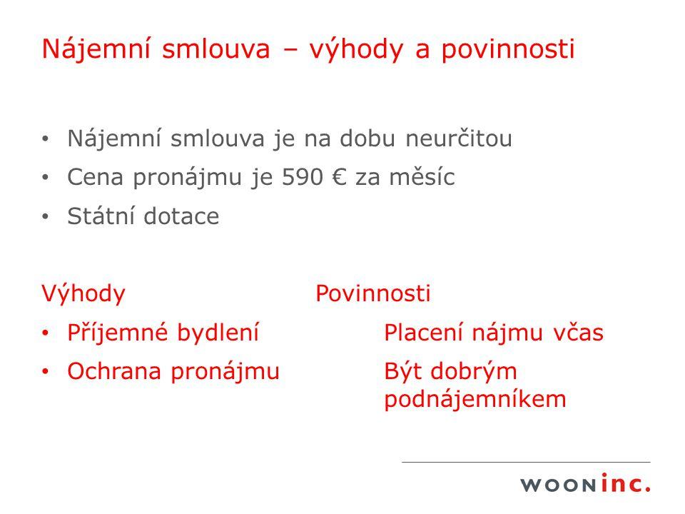 Nájemní smlouva – výhody a povinnosti Nájemní smlouva je na dobu neurčitou Cena pronájmu je 590 € za měsíc Státní dotace VýhodyPovinnosti Příjemné byd