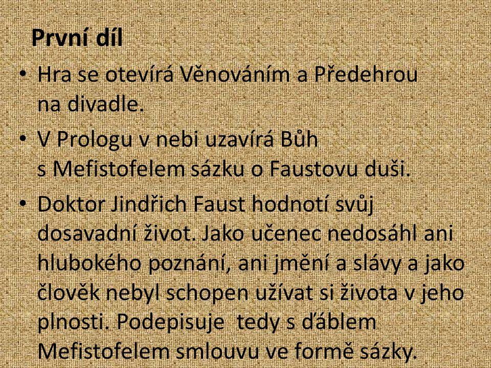 První díl Hra se otevírá Věnováním a Předehrou na divadle.