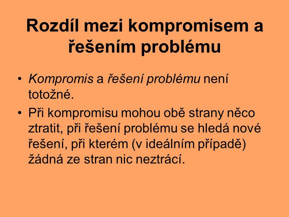Rozdíl mezi kompromisem a řešením problému Kompromis a řešení problému není totožné. Při kompromisu mohou obě strany něco ztratit, při řešení problému