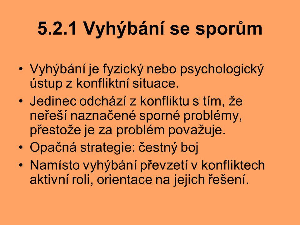 5.2.1 Vyhýbání se sporům Vyhýbání je fyzický nebo psychologický ústup z konfliktní situace. Jedinec odchází z konfliktu s tím, že neřeší naznačené spo