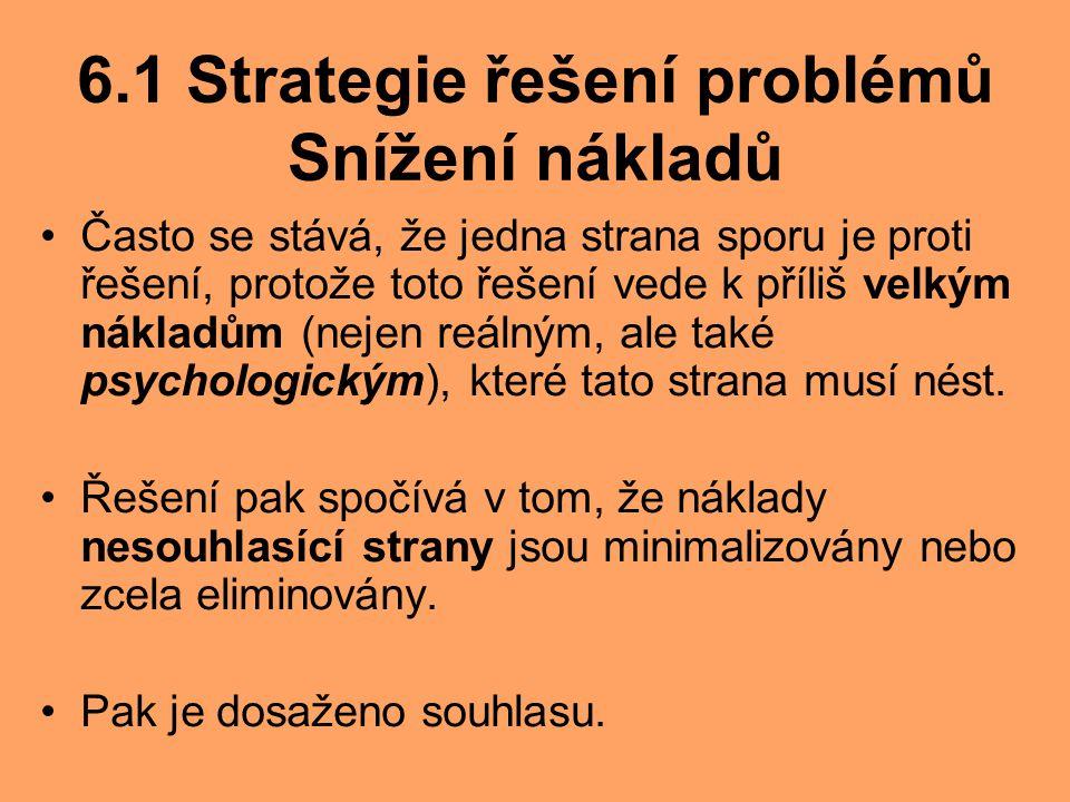 6.1 Strategie řešení problémů Snížení nákladů Často se stává, že jedna strana sporu je proti řešení, protože toto řešení vede k příliš velkým nákladům