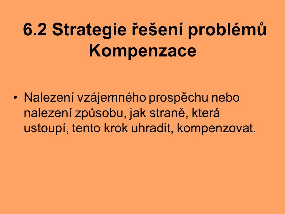 6.2 Strategie řešení problémů Kompenzace Nalezení vzájemného prospěchu nebo nalezení způsobu, jak straně, která ustoupí, tento krok uhradit, kompenzov