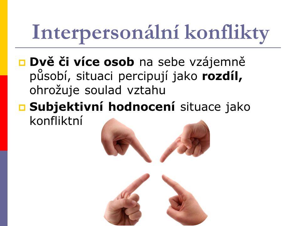 Interpersonální konflikty  Dvě či více osob na sebe vzájemně působí, situaci percipují jako rozdíl, ohrožuje soulad vztahu  Subjektivní hodnocení situace jako konfliktní