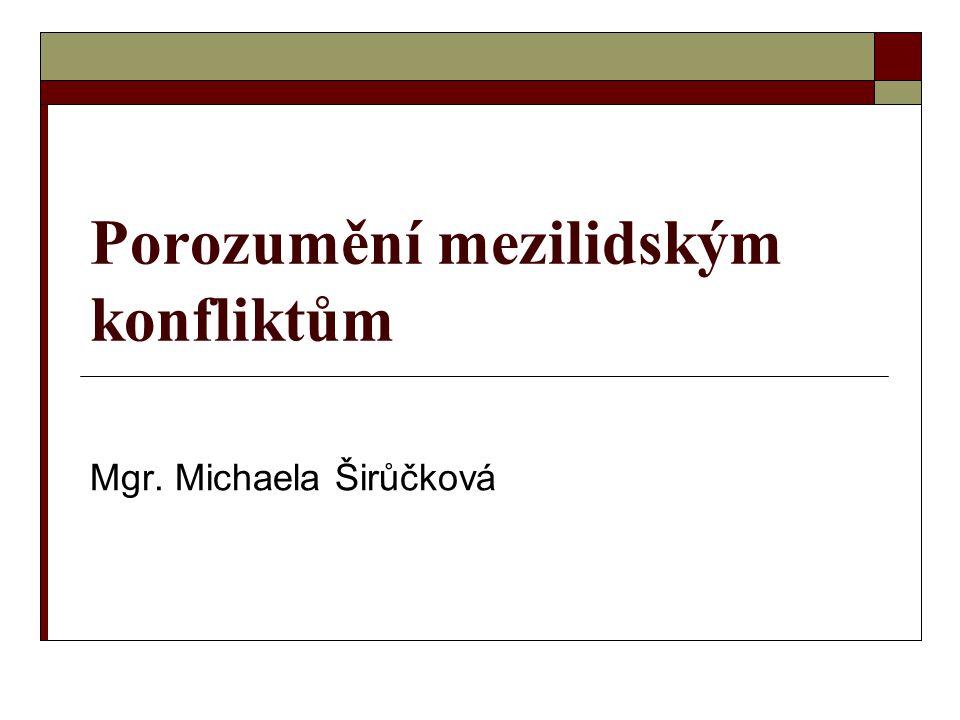Porozumění mezilidským konfliktům Mgr. Michaela Širůčková