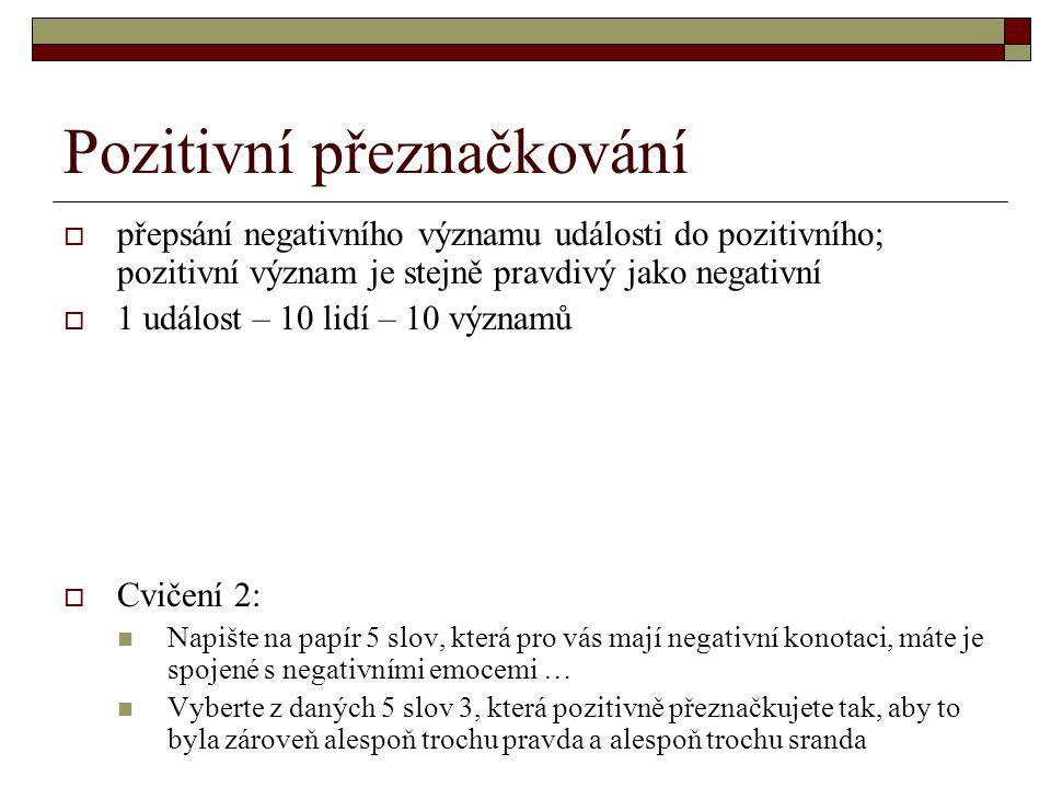 Pozitivní přeznačkování  přepsání negativního významu události do pozitivního; pozitivní význam je stejně pravdivý jako negativní  1 událost – 10 li