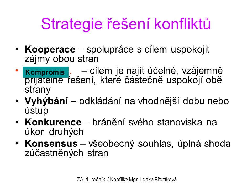 Strategie řešení konfliktů Kooperace – spolupráce s cílem uspokojit zájmy obou stran..................