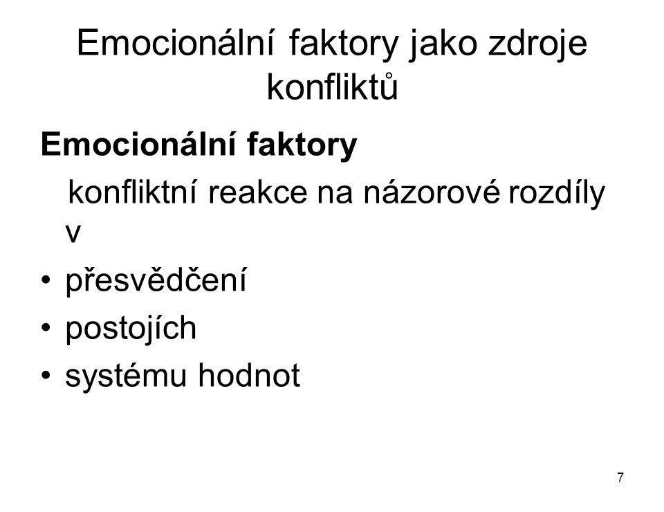 7 Emocionální faktory jako zdroje konfliktů Emocionální faktory konfliktní reakce na názorové rozdíly v přesvědčení postojích systému hodnot