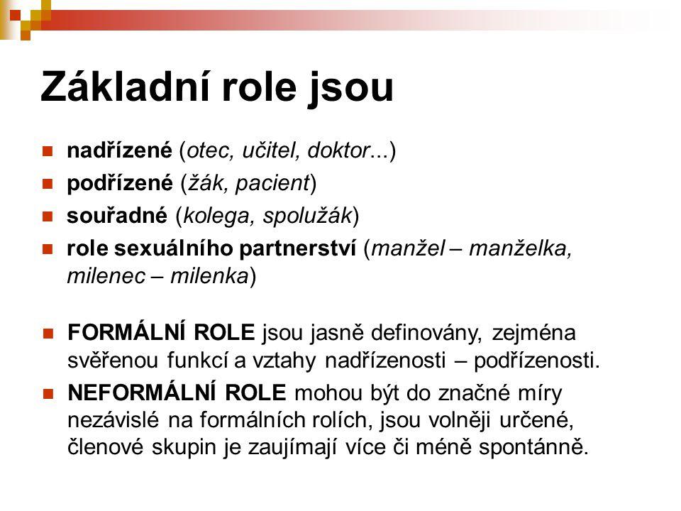 Základní role jsou nadřízené (otec, učitel, doktor...) podřízené (žák, pacient) souřadné (kolega, spolužák) role sexuálního partnerství (manžel – manž