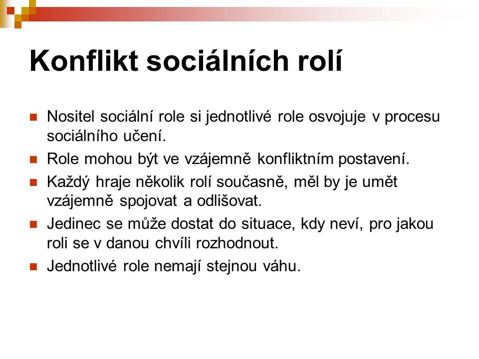 Konflikt sociálních rolí Nositel sociální role si jednotlivé role osvojuje v procesu sociálního učení. Role mohou být ve vzájemně konfliktním postaven