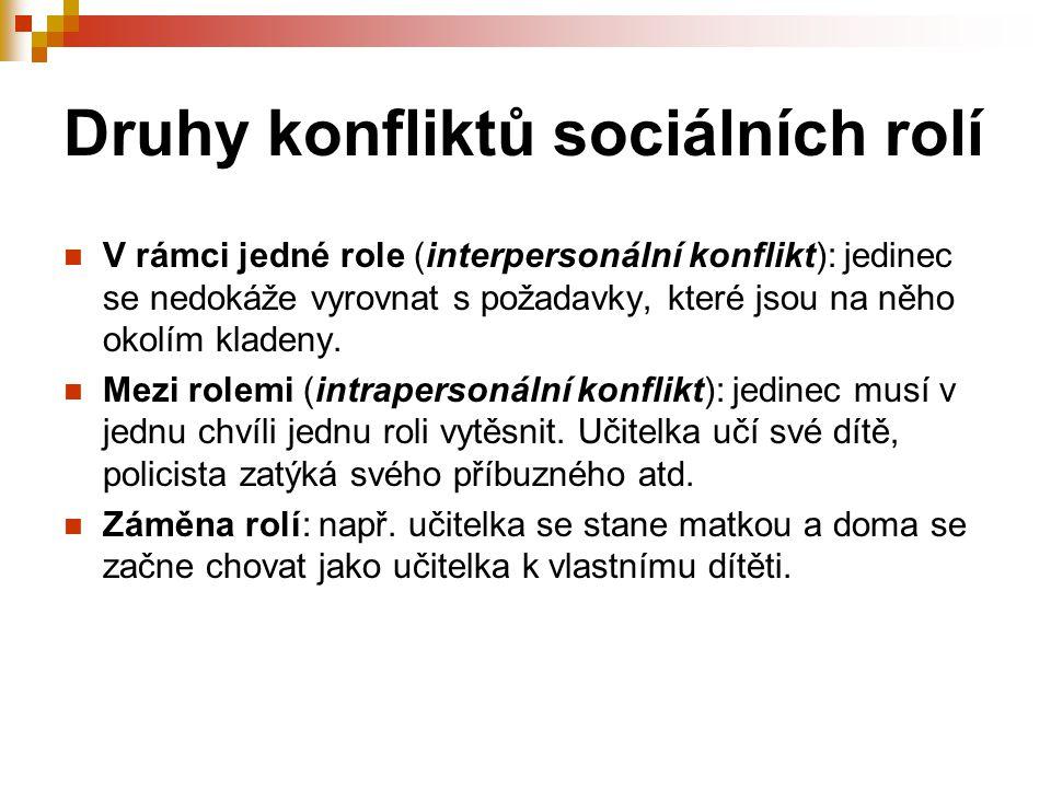 Druhy konfliktů sociálních rolí V rámci jedné role (interpersonální konflikt): jedinec se nedokáže vyrovnat s požadavky, které jsou na něho okolím kla