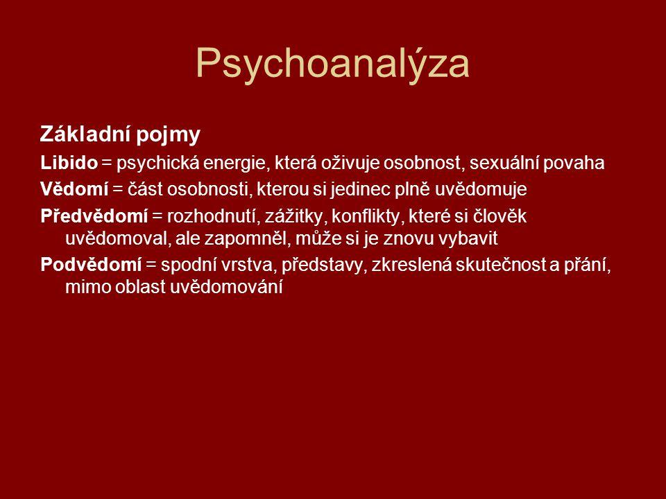 Psychoanalýza Struktura osobnosti 1)ID nepřístupná část osobnosti domáhá se okamžitého a úplného uspokojení potřeb iracionální, princip slasti 2)EGO princip reality převádí požadavky id do praktických způsobů naplňování potřeb racionální, na vědomé úrovni, zvažuje činy a následky založen na realitě dobře rozvinuté je známkou zdravé osobnosti