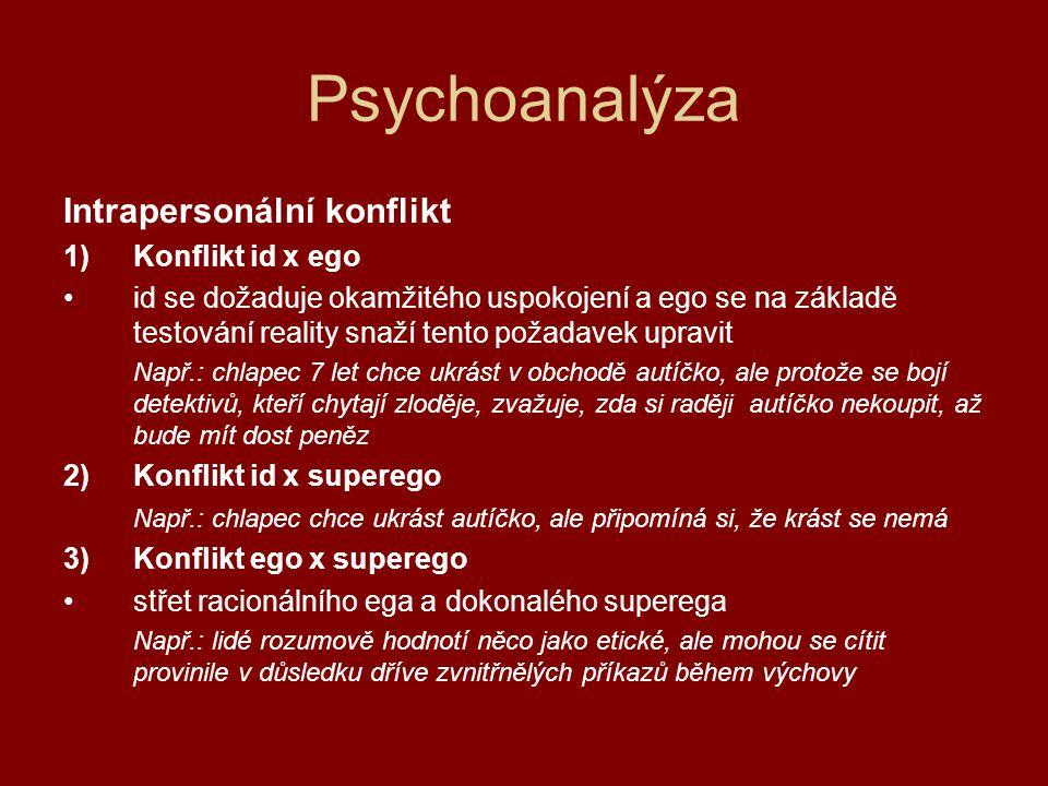 Psychoanalýza Pudy = potřeby id, vyvolávají napětí 2 základní pudy Erós – pud života = princip slasti, sexuální zaměření vede k intimnímu spojení, zplození nového života, je spojen s různými částmi těla (erotogenní zóny) Thanatos – pud smrti = princip nirvány, destruktivní (nirvána = neexistence utrpení, naprostý pokoj, smrt) před smrtí – dochází k ničení a pomalému rozpadu projevuje se zlostí a agresivním chováním (proti druhým i proti sobě)