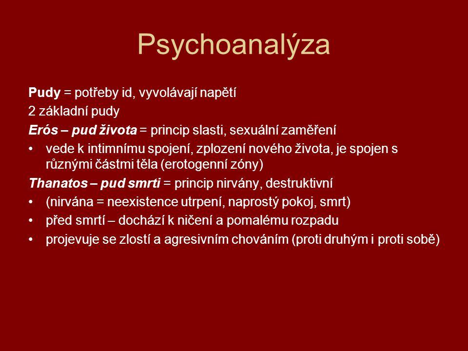 Psychoanalýza Vývoj osobnosti 5 stádií (vztah k erogenním zónám) 1.orální stadium = sání, polykání 2.anální stadium = spontánní vyprazdňování střev 3.falické stadium = autoerotické chování (Oidipův konflikt – u chlapců, Elektřin konflikt – u dívek) 4.období latence = období klidu 5.genitální stadium = v pubertě, působení libida Erogenní zóny orální zóna – rty, vnitřek úst anální zóna – rektální oblast falická zóna – pohlavní orgány