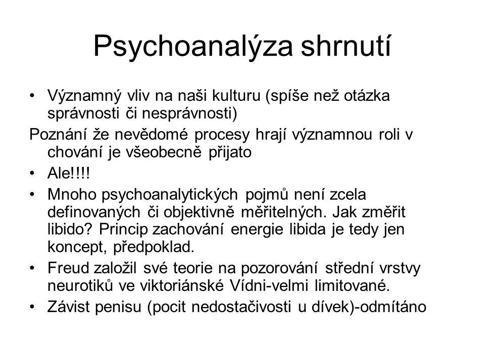 Psychoanalýza shrnutí Významný vliv na naši kulturu (spíše než otázka správnosti či nesprávnosti) Poznání že nevědomé procesy hrají významnou roli v chování je všeobecně přijato Ale!!!.