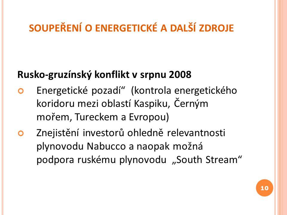 """SOUPEŘENÍ O ENERGETICKÉ A DALŠÍ ZDROJE Rusko-gruzínský konflikt v srpnu 2008 Energetické pozadí"""" (kontrola energetického koridoru mezi oblastí Kaspiku"""