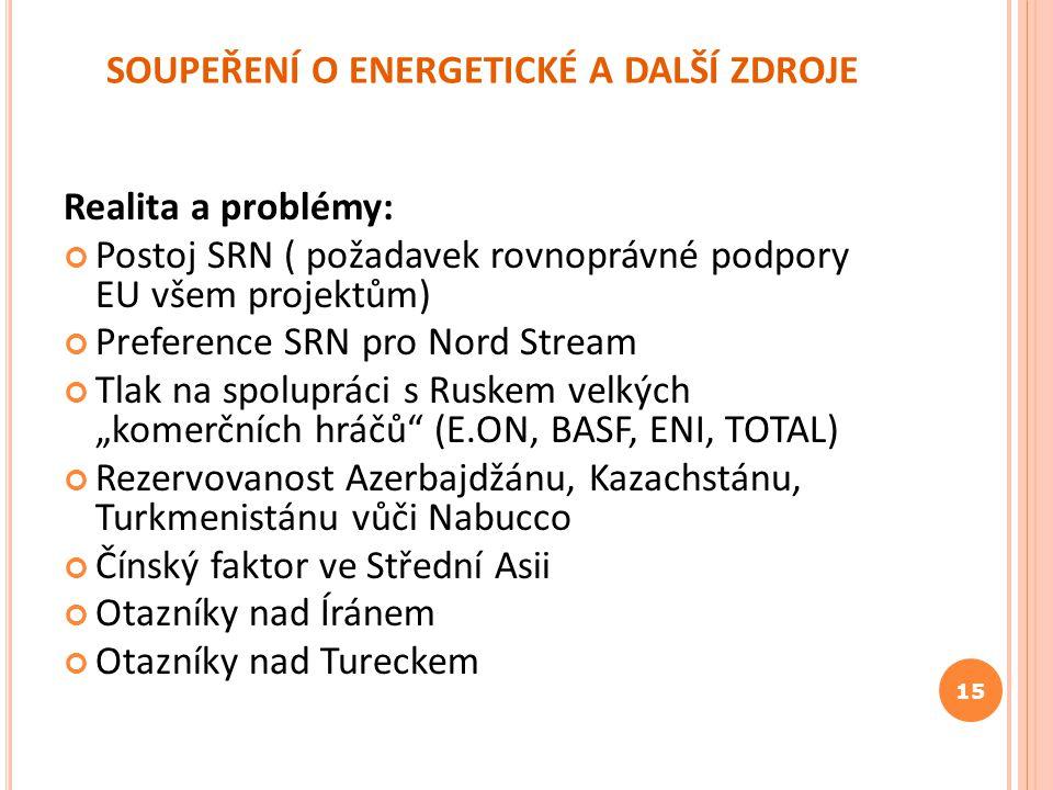 SOUPEŘENÍ O ENERGETICKÉ A DALŠÍ ZDROJE Realita a problémy: Postoj SRN ( požadavek rovnoprávné podpory EU všem projektům) Preference SRN pro Nord Strea