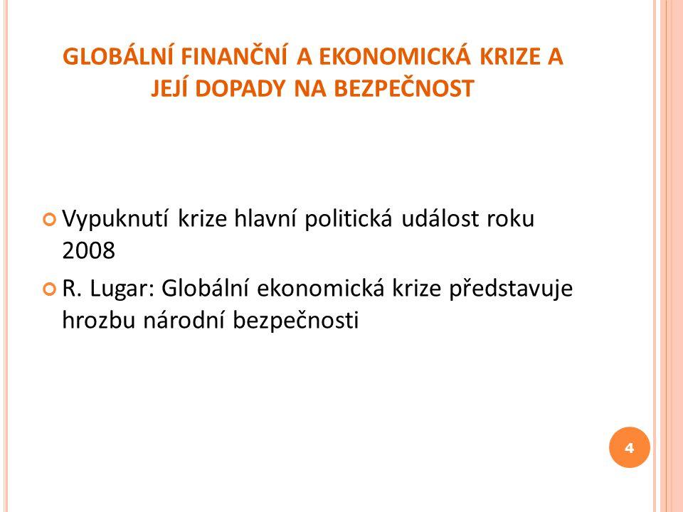 GLOBÁLNÍ FINANČNÍ A EKONOMICKÁ KRIZE A JEJÍ DOPADY NA BEZPEČNOST Vypuknutí krize hlavní politická událost roku 2008 R. Lugar: Globální ekonomická kriz