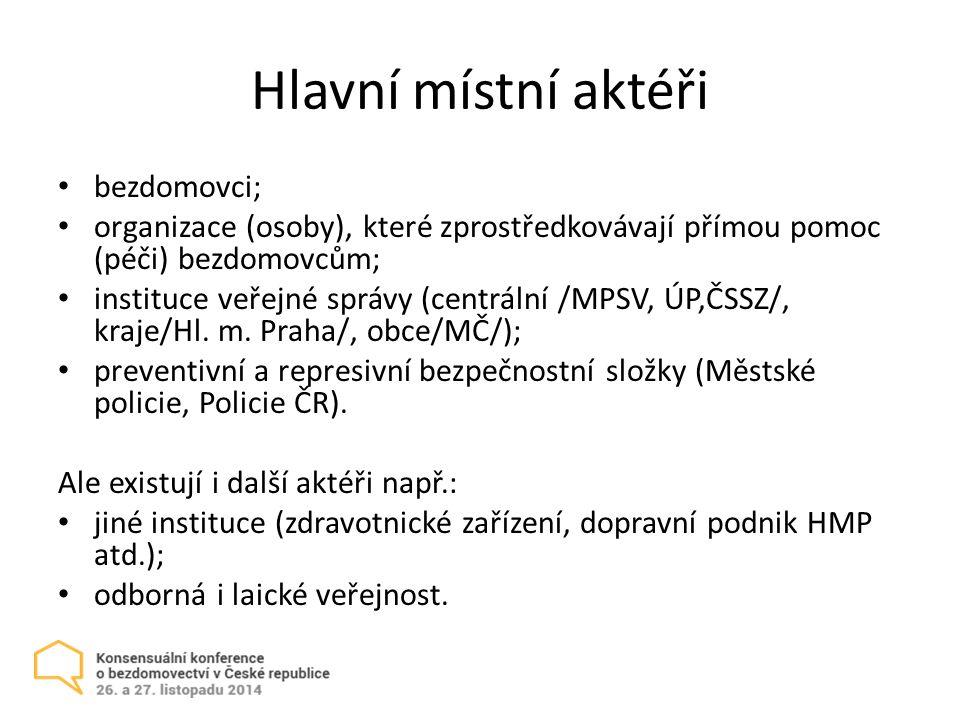 Hlavní místní aktéři bezdomovci; organizace (osoby), které zprostředkovávají přímou pomoc (péči) bezdomovcům; instituce veřejné správy (centrální /MPSV, ÚP,ČSSZ/, kraje/Hl.