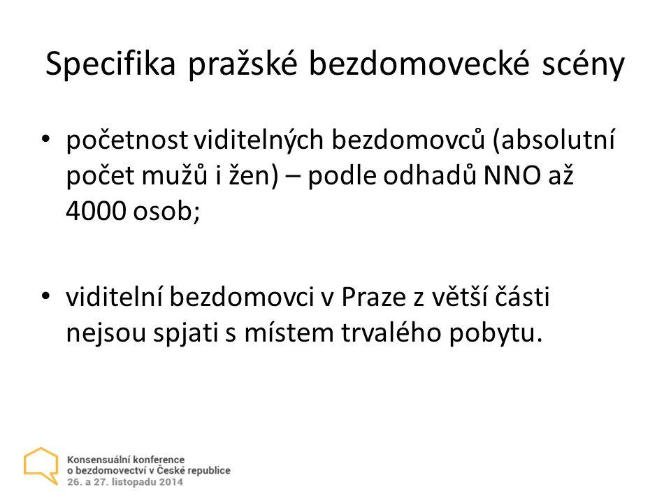 Specifika pražské bezdomovecké scény početnost viditelných bezdomovců (absolutní počet mužů i žen) – podle odhadů NNO až 4000 osob; viditelní bezdomovci v Praze z větší části nejsou spjati s místem trvalého pobytu.