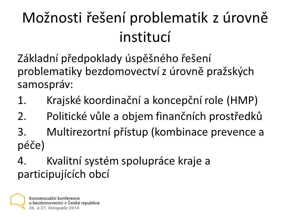 Možnosti řešení problematik z úrovně institucí Základní předpoklady úspěšného řešení problematiky bezdomovectví z úrovně pražských samospráv: 1.Krajské koordinační a koncepční role (HMP) 2.Politické vůle a objem finančních prostředků 3.Multirezortní přístup (kombinace prevence a péče) 4.Kvalitní systém spolupráce kraje a participujících obcí