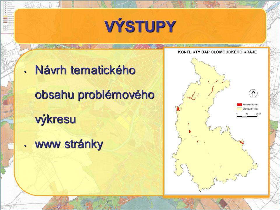 Návrh tematického Návrh tematického obsahu problémového výkresu www stránky www stránky VÝSTUPY
