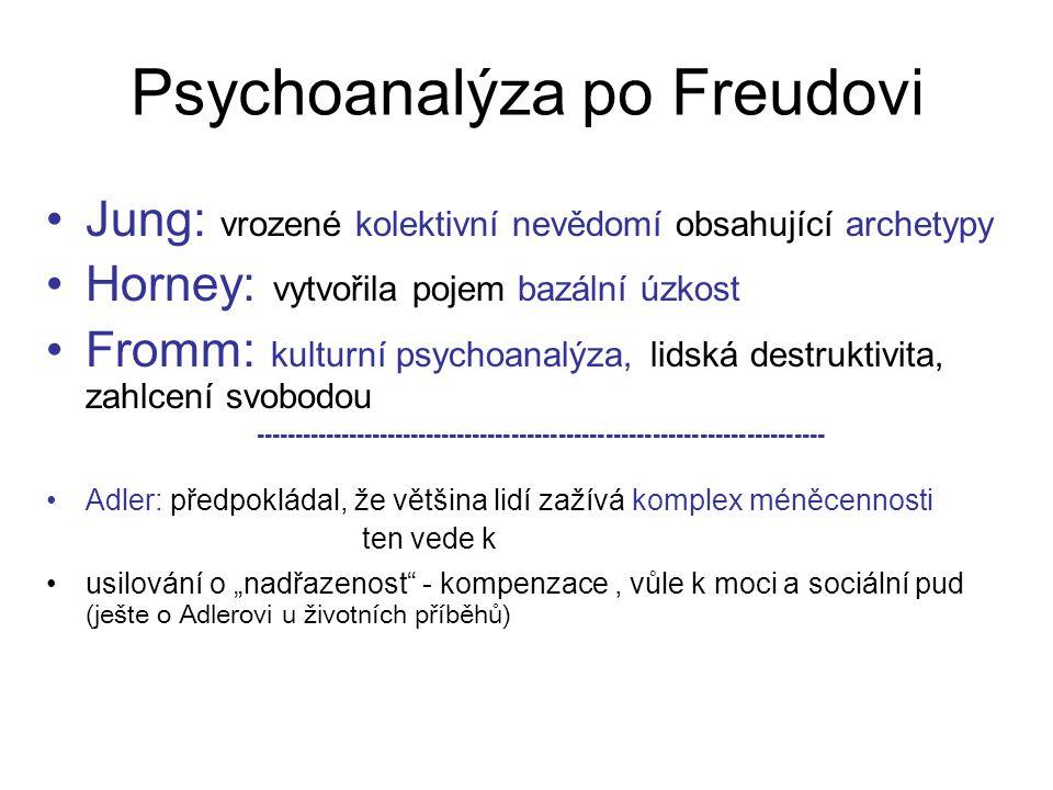 Psychoanalýza po Freudovi Jung: vrozené kolektivní nevědomí obsahující archetypy Horney: vytvořila pojem bazální úzkost Fromm: kulturní psychoanalýza,